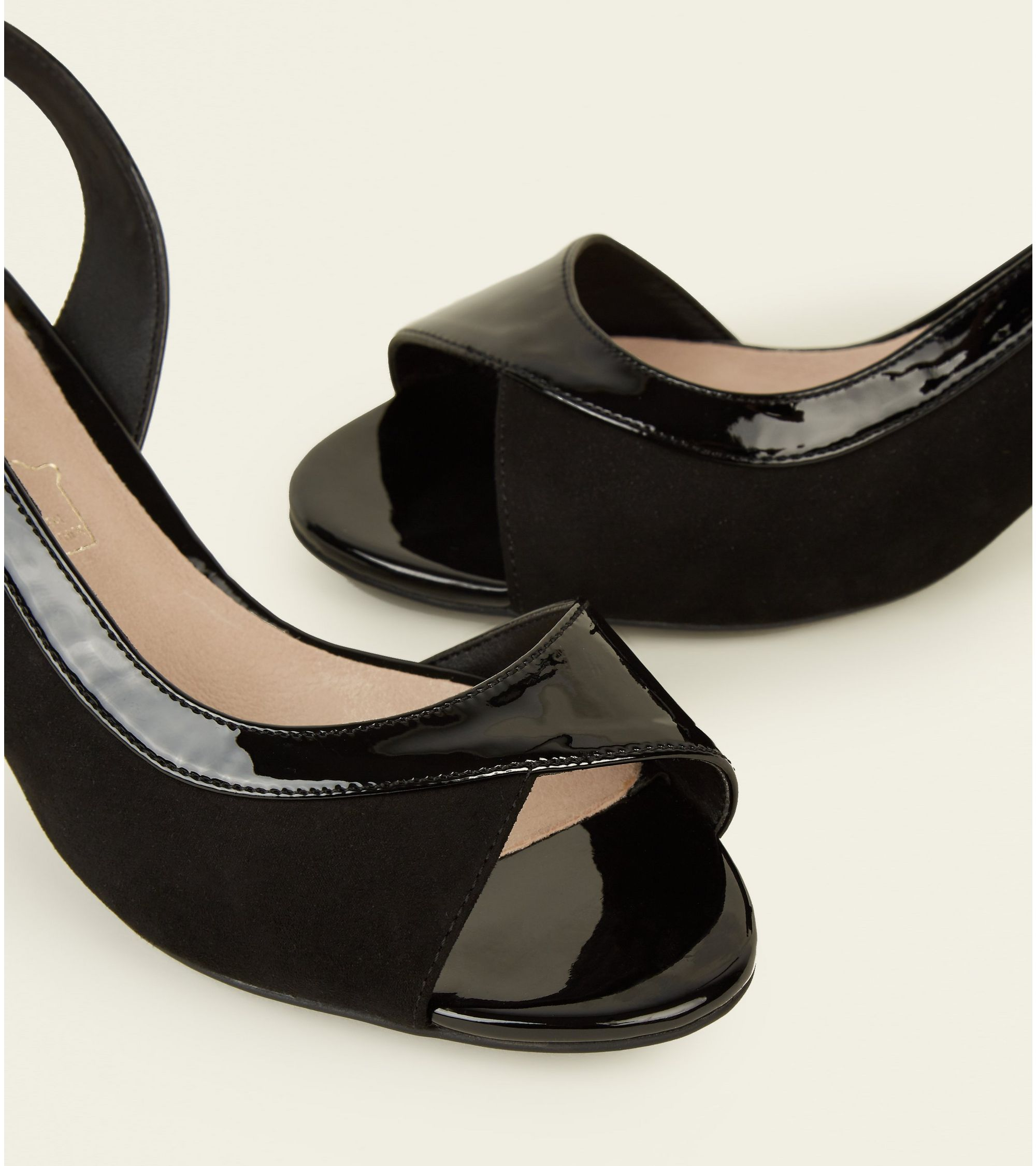 1080feca8 New Look - Wide Fit Black Comfort Flex Suedette and Patent Kitten Heels - 3