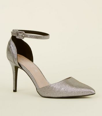 Silver Comfort Flex Glitter Pointed Heeled Sandals