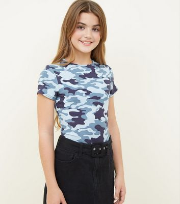 Girls Blue Camo Print T-Shirt