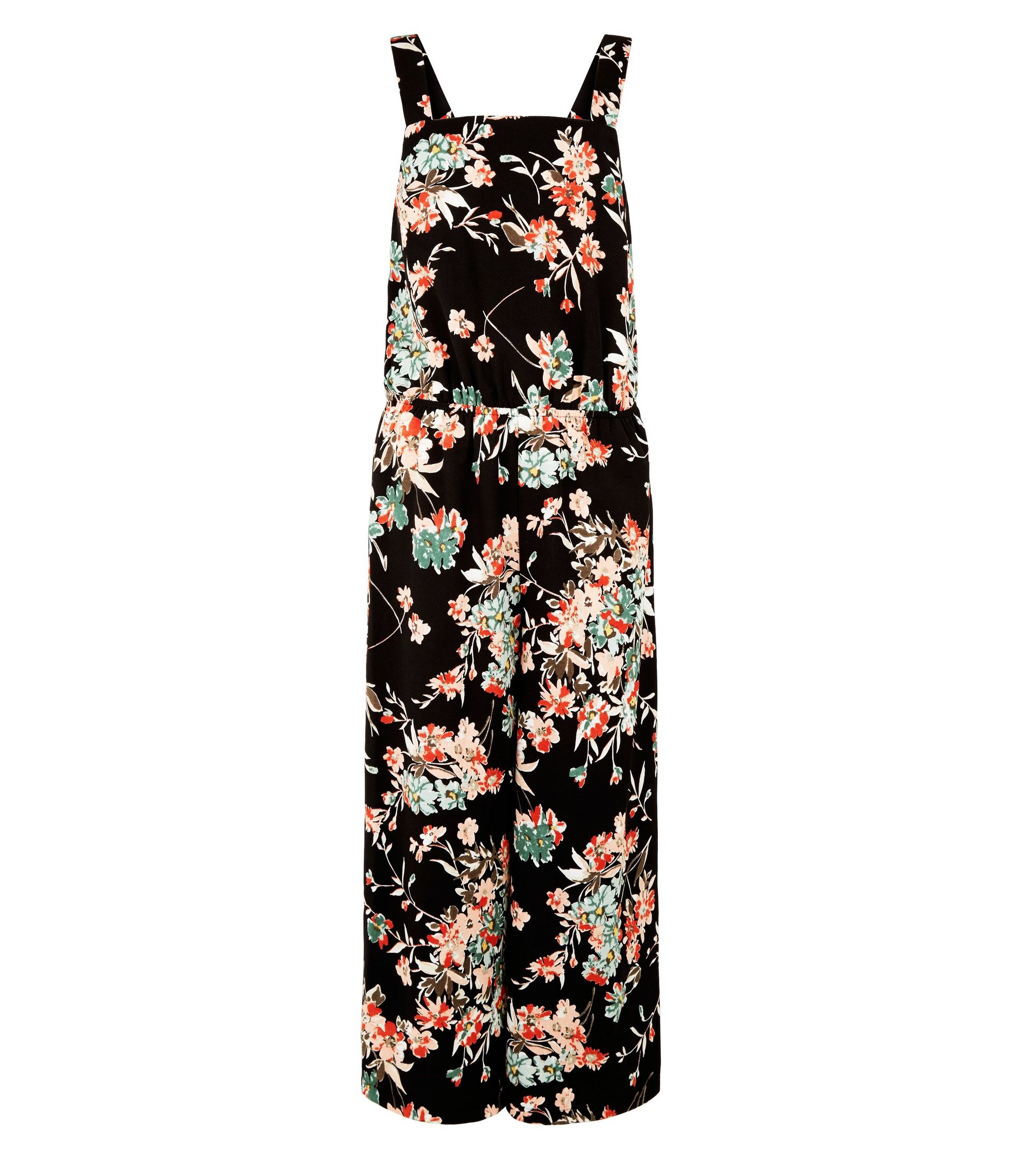 79c66fb7103 New Look Girls Black Floral Square Neck Jumpsuit at £9