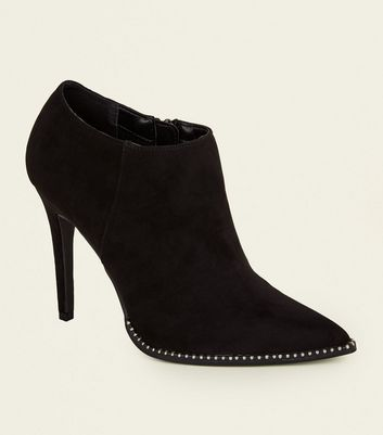Black Suedette Stud Sole Shoe Boots