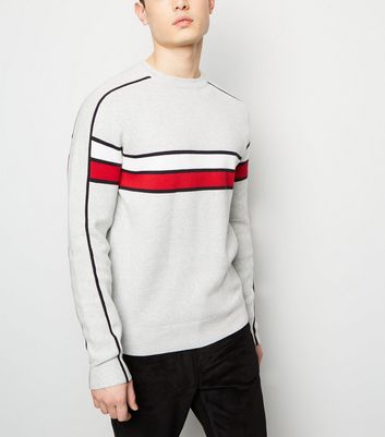 Pale Grey Colour Block Crew Neck Jumper