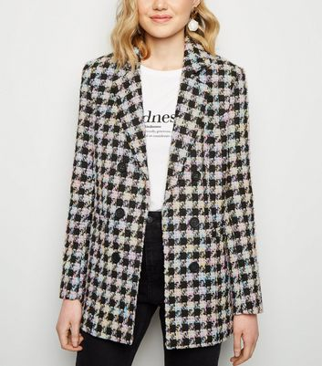 Black Check Bouclé Coat