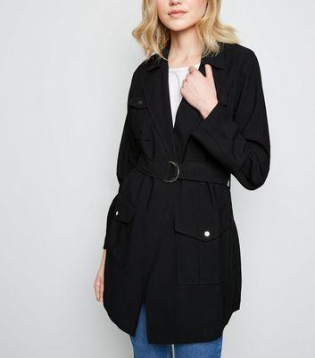Black D-Ring Belt Longline Shacket