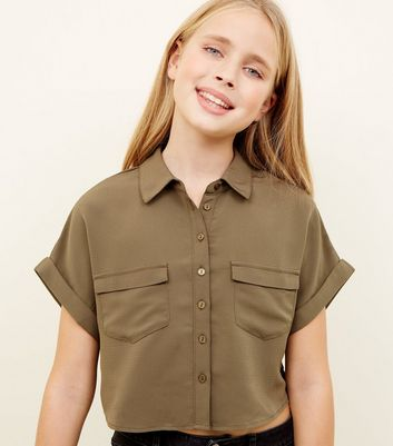 Girls Khaki Pocket Boxy Shirt