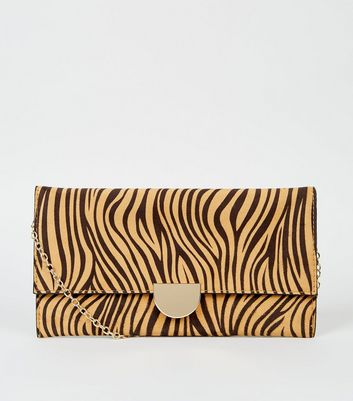 Light Brown Tiger Print Clutch Bag