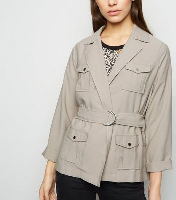 Petite Stone Safari Belted Jacket