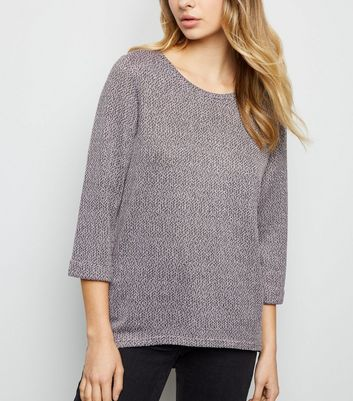 Pale Pink 3/4 Sleeve Fine Knit Top