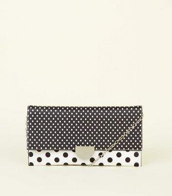 Black Contrast Polka Dot Clutch Bag