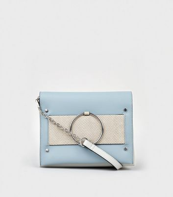 Blue Leather-Look Colour Block Bag