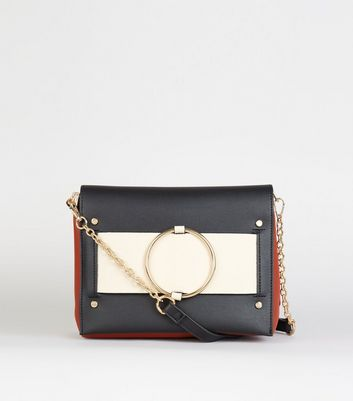 Orange Leather-Look Colour Block Bag