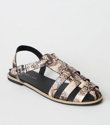Black Faux Snake Caged Flat Sandals