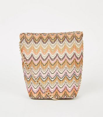Multicoloured Zig Zag Pattern Bucket Bag