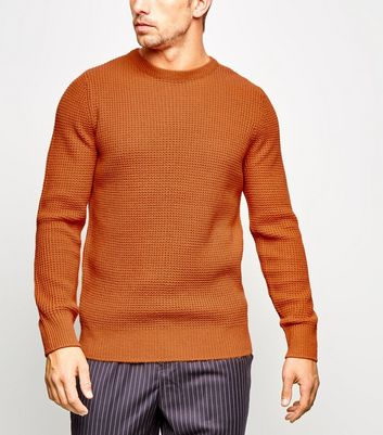 Orange Crew Neck Waffle Knit Jumper