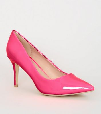 Pink Neon Patent Pointed Court Shoes