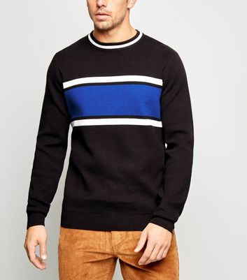 Black Block Stripe Crew Neck Jumper