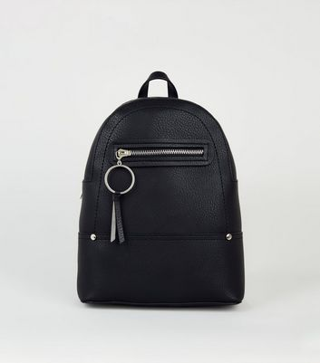 Black Ring Zip Mini Backpack