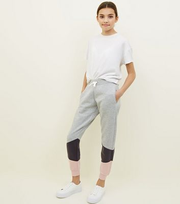 Girls Light Grey Diagonal Colour Block Joggers