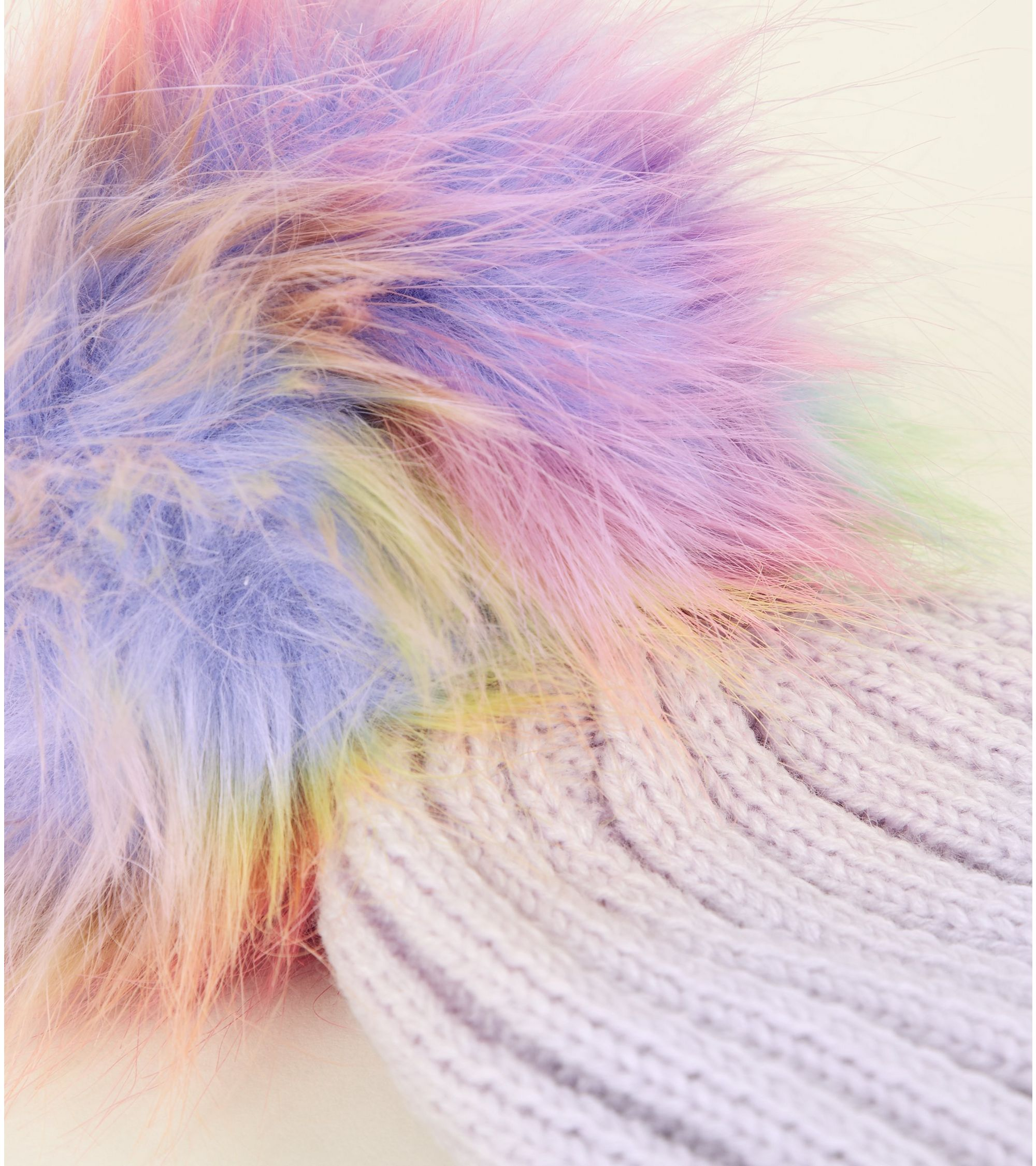 00ebb8b52eaab New Look Lilac Rainbow Pom Pom Bobble Hat at £6.99