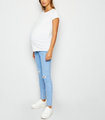 Maternity Pale Blue Ripped Knee Over Bump Jeans