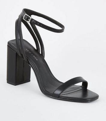 Black Double Back Strap Block Heel Sandals