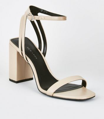 Cream Double Back Strap Block Heel Sandals