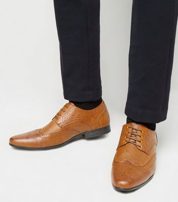 Tan Leather-Look Lace Up Brogues
