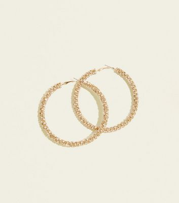 Gold Cupchain Embellished Hoop Earrings by New Look