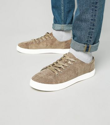 Dark Grey Corduroy Lace-Up Trainers