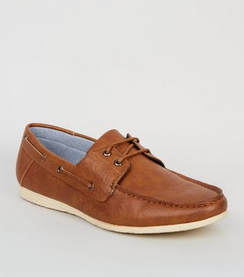 Tan Leather-Look Boat Shoes
