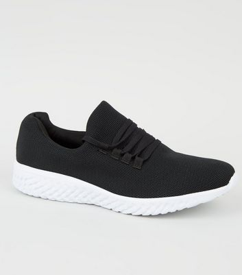 Black Woven Mesh Lace Up Trainers