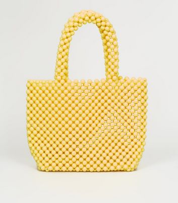 Yellow Beaded Grab Tote Bag