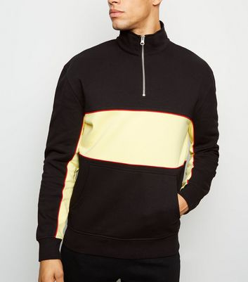 Black Piped Colour Block Zip Neck Sweatshirt