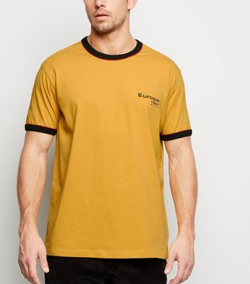 Yellow Europa Slogan Ringer T-Shirt