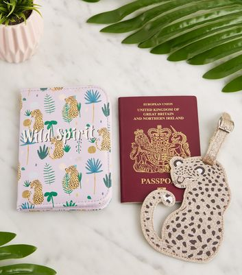 Lilac Leopard Print Passport Holder and Luggage Tag Set