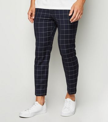 Navy Grid Check Skinny Crop Trousers