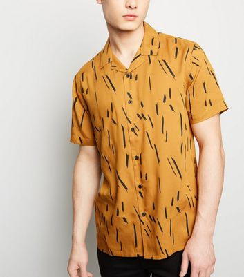 Mustard Brush Stroke Print Short Sleeve Shirt