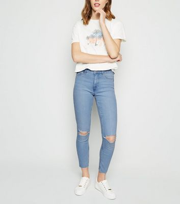 Bright Blue Bleach Wash Ripped Jenna Jeans