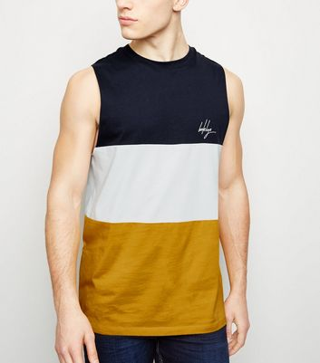 Yellow Block Stripe Brooklyn Embroidered Vest