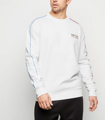 White NY Sport Slogan Piped Sleeve Sweatshirt