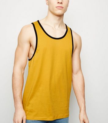 Yellow Ringer Trim Vest Top