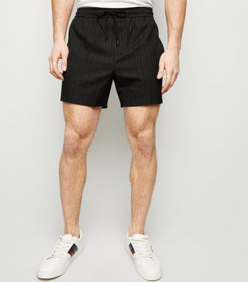 Black Pinstripe Side Piped Shorts