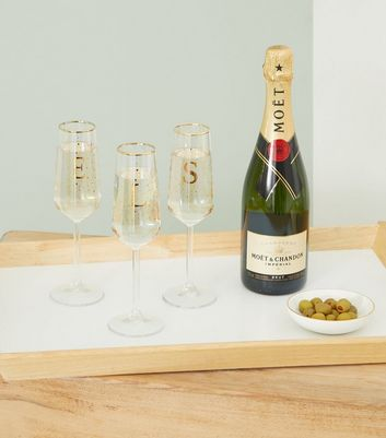 Clear S Initial Prosecco Flute Glass