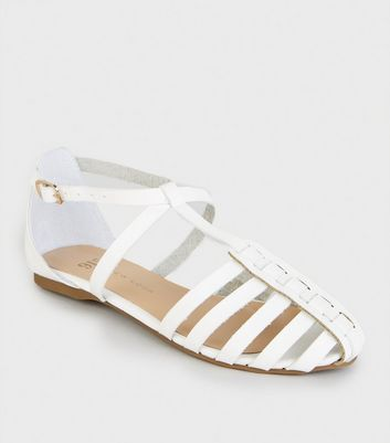 Girls White Woven T-Bar Ballet Pumps