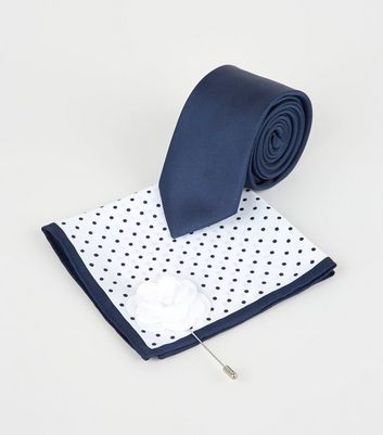 3 Pack Navy Tie Spot Handkerchief and Pin Set
