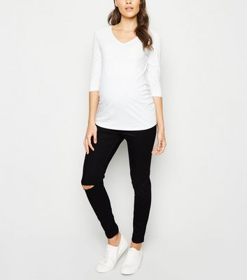 Maternity Black Ripped Over Bump Jeggings