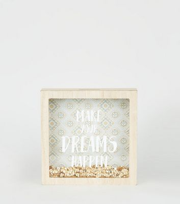 Gold Tile Print Sequin Money Box