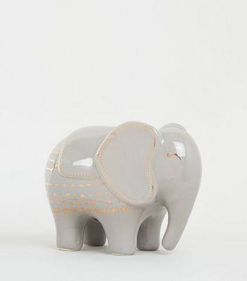 Dark Grey Elephant Money Box