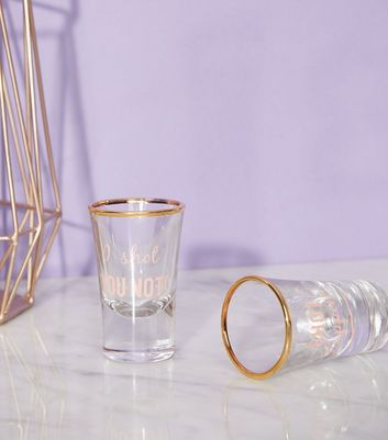 Pink Slogan Short Glass Set