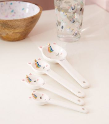 White Unicorn Ceramic Measuring Spoons